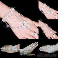 Wholesale Harness For Women - Wholesale-Bridal Wedding bracelets Crystal Rhinestone Slave Bracelet Wristband Harness Cuff bracelets for women 1NAQ