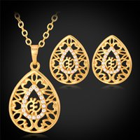 jóias colares design venda por atacado-Novo Design 18 K Real Banhado A Ouro Pingentes Colares Brincos Multi Strass Conjuntos de Jóias Africanas Hot Jewellery
