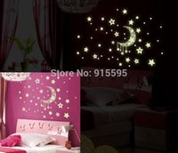 Wholesale Free Gift Stickers - Free Shipping:Fluorescent Luminous PVC Wall Stickers Glow In The Dark Moon Star 3D Background Vinyl Wall Decal For Kids Gifts