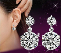 Wholesale Super Cute Korean - Korean fashion 925 sterling silver cute double rhinestone high quality super flash crystal women vintage stud earrings jewelry