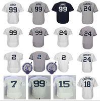 Wholesale Polyester Baseball Shorts - Men's New York 2 Derek Jeter Jersey 7 Mickey Mantle 18 Didi Gregorius 24 Gary Sanchez 99 Aaron Judge Baseball Jerseys