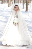 Wholesale Long Red Wedding Cloak - Winter Wedding Custom made Faux Fur Bridal Long Wraps 2015 Princess New Hot Plus Size Colors Warming Cloak for Lovely Brides Christmas