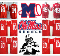 Wholesale Black Rebel - Stitched NCAA Ole Miss Rebels College Barry Sanders Eli Manning 10 Chad Kelly 10 Patrick Willis 49 Bo Wallace 14 Football Jersey jerseys NEW