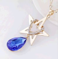 Wholesale Wholesale Hang Sweaters - Crystal Heart Rhodium Plated Pendant Necklace with Rhinestone Star Hang Heart Long Sweater Chain Fashion Engagement Jewelry Best Gift