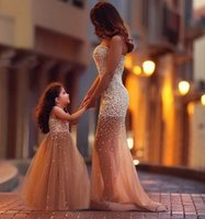 Wholesale Mermaid Beaded Skirt - Hot Sale Gold Parent-Child Prom Dresses Luxury Pearls Beading Ruched Mermaid Prom Dresses Skirt Train Tulle Evening Gowns Mother Style