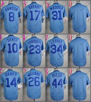 Wholesale Black White Strips - Chicago Jersey 44 Anthony Rizzo 34 Jon Lester 23 Ryne Sandberg 17 Kris Bryant 10 Ron Santo Blue Strips 1988 Baseball Jersey