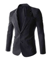 Wholesale Gray Korean Style Blazer - FG1509 New Korean Style Stripe Suit Jacket 2015 Mens Spring Autumn Fashion Slim Fit Black Gray Suit Men Traje Hombre Blazer Jacket Men