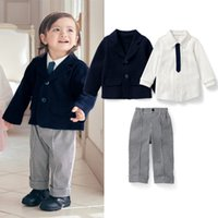 Wholesale Baby Winter Set Coat Trousers - Hot New Style 3 piece set baby boys grid shirts+coat+Casual stripe pants trousers boy spring autumn gentleman cute lovel outfit suits