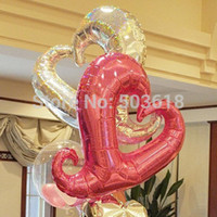 coração em forma de balões de folha de ouro venda por atacado-18''free envio 10 pçs / lote folha de alumínio balão venda por atacado partido decoração de hélio inflável em forma de coração de casamento
