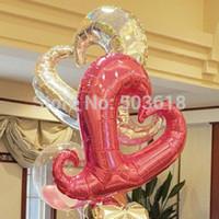 kalp şeklinde helyum balonu toptan satış-18''Free Nakliye 10 Adet / grup Alüminyum Folyo Balon Toptan Parti Dekorasyon Helyum Inflable Kalp Şekilli Düğün