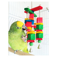 Wholesale Parrot Rope - Hot Sale moveable Parrot bird toys swing wood chew rope toys fun with bells medium size 2015 New Arrival