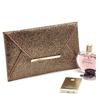 Wholesale Leopard Purses Envelope - Lady new day clutches bags Women Evening Party Bags Gold Sequins Envelope Bag Purse Clutch Handbags Shiny Solid Ultrathin
