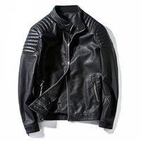 jaqueta couro masculino großhandel-Großhandel-Motorradjacke Herren Lederjacke männlich lässig Stehkragen Mode Bomberjacke jaqueta de couro masculino Outwear Coat