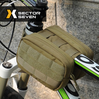 Wholesale Bike Saddle Rain Cover - SECTOR SEVEN Mountain Bicycle 1000D Nylon Saddle Bag Bike Front Tube Waterproof Molle Pouches Rain Cover Black Tan Camouflage
