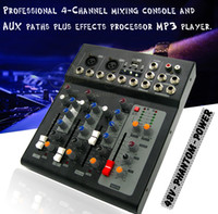 Wholesale Dj Audio Mixers - Professional Effect 2 Channel Mono 4 Channels Karaoke Microphone DJ Mixer Audio Mixer Console USB Digital Processor Music Sound Effects