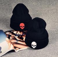 schwarze schädelmütze der männer großhandel-Neue Mens Womens Strickmütze Skull Hut Knitting Unisex Cap Hip-Hop-Caps Winter Warm stricken Hüte schwarze Beanies
