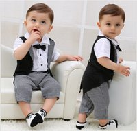 Wholesale Toddler Boy Tuxedo Shorts - Toddler Baby Boys Gentleman Rompers Infants Summer Short Sleeve Tuxedo Jumpsuits With Bowtie Babies Clothing Kids One-Piece Newborn Onesies