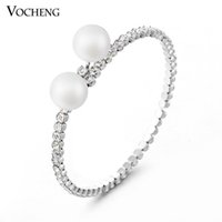 Wholesale Pearl Crystal Bangle Bracelet - New Fashion Women Bracelet Gold&White Plated Inlay Two Big Pearl& Clear Crystal (VG-036) Vocheng Jewelry