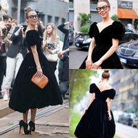 Wholesale White Velvet Tea Length Dress - Vintage Black Ball Gown Prom Dresses Puffy Sleeves Velvet Cheap Formal Gowns Red Carpet Celebrity Dress For Special Occasion 2015 J821