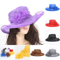 Wholesale Elegant Grey Flower Dress - Elegant Ladies Church Wedding Dress Organza Hats Women Kentucky Derby Hat Spring Summer Foldable Flower Beach Wide Brimmed Sun Visors Sale