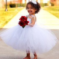 Wholesale Toddler Ball Gown Pattern - Lovely White Tulle Flowergirl Dresses 2017 New Pattern Adjustable Spaghetti Straps Pretty Princess Ball Gown Toddler Pageant Dresses