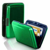 Wholesale Crush Fabric - Wholesale- 12 Colors Waterproof Business ID Credit Card Wallet Crush Resistant Expandable Pockets Holder Aluminum Metal Pocket Case