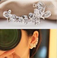 Wholesale Drilled Ear Cuffs - Korean elegant Refinement Top grade flash drilling Butterfly Flower earrings ear clip Ear Cuff Have pierced ears No pierced ear