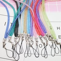 Wholesale Lanyard Lace - Cell Phone Lanyard Lace Crystal Long Section Hanging Neck Straps Net Rope With Metal Buckle Lanyards Hot Sale 1 2yl B
