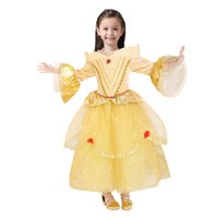 Wholesale Rapunzel Cartoon - 2017 Belle Princess Dress Rapunzel Dress Sleeping Beauty Princess Aurora Flare Sleeve Dress Party Birthday Costumes