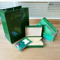 Wholesale Wholesale Watch Boxes For Men - Free Shipping Luxury Watch Box For ROLEX Original Inner Outer Womans Watches Boxes Men Wristwatch Green Box Booklet Card And Bag