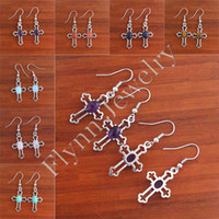 Wholesale Turquoise Cross Beads Wholesale - Charm Rose Quartz Turquoise White Crystal etc Natural Stone Bead Mini Cross Drop Earrings Accessories Silver Plated Fashion Jewelry 14X Mix