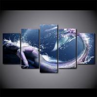 hermosas pinturas al óleo hd al por mayor-5 Unids / set Enmarcado HD Impreso Hermoso Diseño de la Pared de la Sirena Impresión de la Lona Poster Arte Moderno Pinturas Al Óleo imágenes