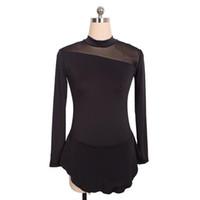 eislaufen kleider schwarz großhandel-Neueste schwarze weibliche Skating Dress On Ice langen Ärmeln schlichtes Design Kleid Wettbewerb Mädchen Kleid Open Back
