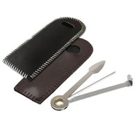 Wholesale leather pipe case resale online - 100set Portable Stainless Steel in Smoking Pipe Cleaner Cleaning Tool Reamers Tamper With Leather Case ZA5447