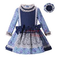 venta de ropa vintage al por mayor-Pettigirl Venta caliente Nuevo vestido de niña de otoño Ropa de impresión con encaje Cintura alta Niños Boutique Wear Ropa vintage G-DMGD004-D12