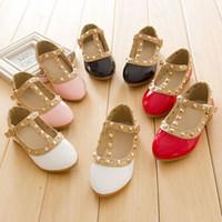 Wholesale Pageant Girl Shoes - Elegant Baby Girls Rivet Shoes Fashion Children's Patent Leather Pageant Princess Shoes Kids Communion Casual Shoes Footwear