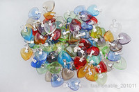 Atacado Bulk lots Mixed Color Clear Crystal Glass Heart Prata Prata Pingentes Pingentes Para DIY Jóias Novas