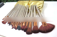 Wholesale brush sets leather for sale - Group buy Lowest price new NUDE brown set Professional makeup brush with leather pouch DHL FREE
