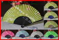 Wholesale Blue Silk Folding Fan - 10pcs lot free shipping high quality handmade Bamboo Frame artificial silk fabric folding fan with butterfly & flower design assorted colors