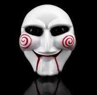 Wholesale Head Scary Movie - 10PCS Masquerade Horror Scary Halloween Mask Saw Movie Jigsaw Puppet Mask Full Mask Head Creepy Scary Cosplay Party ornament
