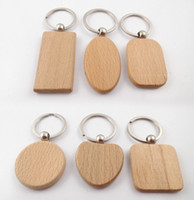 Wholesale Wooden Car Pendant - 6 Shape Blank Wooden DIY Keychain Key Chain Ring Carving Oval Round Square Heart Shape Key Holder Car Pendant Free DHL D274L