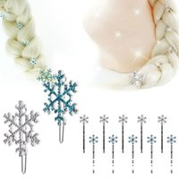 Wholesale Snowflake Crystal Hair Accessories - 6Pcs Cosplay Frozen Elsa Anna Snowflake bodkin Hairpin pins blue Crystal Jelweled Hair Clip Pins Accessories Birthday Party