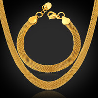 Wholesale Stamp Brass - U7 '18K' Stamp Chunky Chain Necklace Bracelet Set High Quality 18K Real Gold Plated Stainless Steel Figaro Chain 5MM Men Jewelry Set
