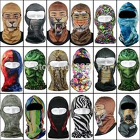 visage zébré achat en gros de-1pc New Fashion Party Full Face Masque Unisex Skull Animal Zebra Imprimé 16 Styles Multi Color Pour Halloween Party Biker