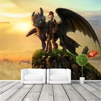 Wholesale Train Wall Art - Custom Large Size Wall Mural How to Train Your Dragon Photo Wallpaper Silk wallpaper Room decor Art Decoration For Kid's room Free shipping