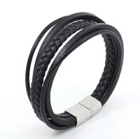 Wholesale Titanium Bracelets For Mens - Mens Bracelet Braided Leather Bracelet Multilayer Fashion Wrist Cuff Titanium Steel Jewelry Bangle Black for Charms Fashion Men Charm