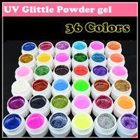 Wholesale Glitter Gel 36 - Wholesale-Fashion New 36 Colors Nail art UV Glitter Powder Gel UV GEL Shimmer Colorful Nail Gel 5g bottle