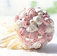 Pink Rings Bouquet Artificial Cristal Pérola Seda Rose Bridal Wedding Flowers Hot Sale Cheap Wedding Decoration Bridesmaid Bouquets 2015