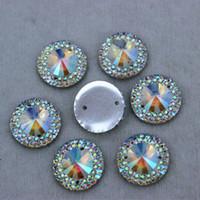 Wholesale Sew Resin Rhinestones - 14mm 100PCS AB Clear Color Round Shape Resin rhinestone Crystal Flat Back Stones FlatBack beads Sew On 2 Hole Free shiping ZZ9