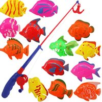 Wholesale Magnetic Fish Toys - New Magnetic Fishing Toy Rod Model Net 14 Fish Kid Children Baby Bath Time Fun Game Free Shipping